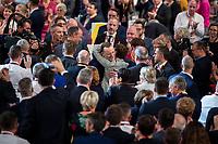 07 DEC 2018, HAMBURG/GERMANY:<br /> Jens Spahn (Mi-L), CDU, Bundesgesundheitsminister und ehem. Kandidat fuer das Amt des Parteivorsitzenden, gratuliert Annegret Kramp-Karrenbauer (Mi-R), CDU Generalsekretaerin und soeben gewaehlte neue Parteivorsitzende, nach Ihrer Wahl zur Parteivorsitzenden der CDU, weiter links: Friedrich Merz, CDU, Rechtsanwalt und ehem. Kandidat fuer das Amt des Parteivorsitzenden, CDU Bundesparteitag, Messe Hamburg<br /> IMAGE: 20181207-01-171<br /> KEYWORDS: party congress, Jubel, Applaus, klatschen, Gratulation