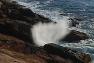 Mount Desert Island has a gorgeous rocky coast where the waves crash on the rocks and splash into the air.