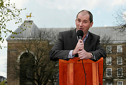 © Licensed to London News Pictures. 13/04/2012. Bristol, UK. Stephen Williams MP for Bristol West takes part in an open air debate whether Bristol should have an elected mayor at a speakers corner debate at College Green in front of Bristol's Council House.  Williams has previously expressed an interest in standing if the referendum votes to have a mayor in Bristol..Photo credit : Simon Chapman/LNP