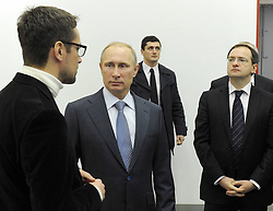 61010275<br /> Russia s president Vladimir Putin (2nd L) and Russia s culture minister Vladimir Medinsky (R) seen ahead of an extended meeting of the Presidium of the Presidential Council for Culture and Art, at Pushkin Academic Drama theatre in Pskov, Russia, Monday, 3rd February 2014. Picture by  imago / i-Images<br /> UK ONLY