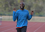 LaShawn Merritt reacts during a workout in Kissimmee, Fla., Thursday, Jan. 25, 2018.