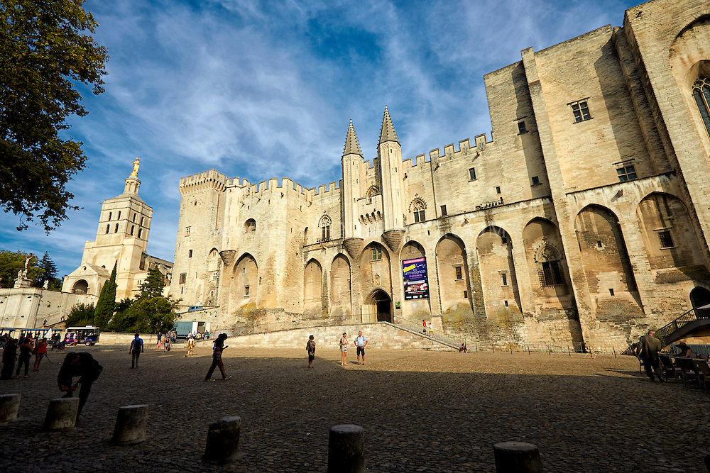 View of the historical Palace of the Popes, Avignon, France.