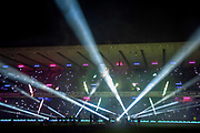 The light show before the Autumn Test match between Scotland and South Africa at the BT Murrayfield Stadium, Edinburgh, Scotland on 17 November 2018.