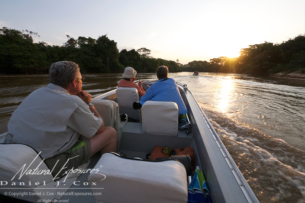 Searching for jaguars on the Three Brothers River, Pantanal, Brazil