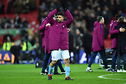 Sergio Aguero (10) of Manchester City celebrates at full time after the 3-0 win over Arsenal during the EFL Cup Final match between Arsenal and Manchester City at Wembley Stadium, London, England on 25 February 2018. Picture by Graham Hunt.