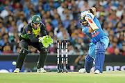 Virat Kohli drives. T20 international, Australia v India. Sydney Cricket Ground, NSW, Australia, 25 November 2018. Copyright Image: David Neilson / www.photosport.nz