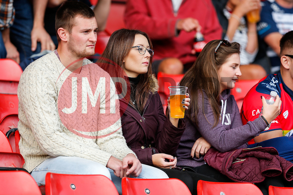 Bristol Rugby supporters in the stands - Mandatory byline: Rogan Thomson/JMP - 07966 386802 - 04/10/2015 - RUGBY UNION - Ashton Gate Stadium - Bristol, England - Bristol Rugby v Rotherham Titans - Greene King IPA Championship.