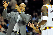 Feb. 9, 2011; Cleveland, OH, USA; Cleveland Cavaliers head coach Byron Scott argues a call during the fourth quarter against the Detroit Pistons at Quicken Loans Arena. The Pistons beat the Cavaliers 103-94 for Cleveland's 26th loss in a row. Mandatory Credit: Jason Miller-US PRESSWIRE