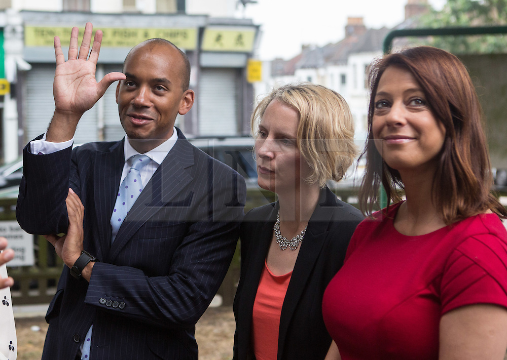 © Licensed to London News Pictures. 20/07/2015. London, UK. Chuka Umunna, Emma Reynolds and Gloria De Piero with Labour leadership contender Liz Kendall (not pictured) at Roupell Park Estate in Brixton to talk about renewable energy. Photo credit : James Gourley/LNP