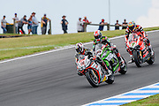Race 2 Leon  Haslam leads Jonathan Rea and Chaz Davies<br /> Philip Island, Australia, 03.03.2015 FIM World Superbike Championship - Honorarpflichtiges Bild, Motorrad WSBK -<br /> fee liable image, copyright © ATP / Damir IVKA