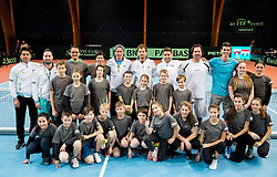 Ball boys with Slovenian team during Day 3 of the tennis matches between Slovenia and Monaco of 2017 Davis Cup Europe/Africa Zone Group II, on February 5, 2017 in Tennis Arena Tabor, Maribor Slovenia. Photo by Vid Ponikvar / Sportida