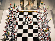 "Chess Set (1981) of Jewish (Hasidim) versus Roman Catholic (Franciscan) figures, made by master glassblower and flameworker Gianni Toso (born 1942). The fascinating Corning Museum of Glass (CMOG.org) covers the art, history and science of glass, brought to life through live glassmaking demonstrations, offered all day, every day, in Corning, New York, USA. The not-for-profit museum was founded in 1951 by Corning Glass Works (now Corning Incorporated) and has a collection of more than 45,000 glass objects, some over 3500 years old, the ""world's best collection of art and historical glass."""