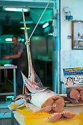 Fresh Swordfish on sale at the Capo street market for fresh food in Palermo, Sicily, Italy