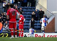 Photo: Andrew Unwin.<br />Blackburn Rovers v Middlesbrough. The Barclays Premiership. 18/03/2006.<br />Blackburn's Craig Bellamy (C) celebrates scoring his team's third goal.