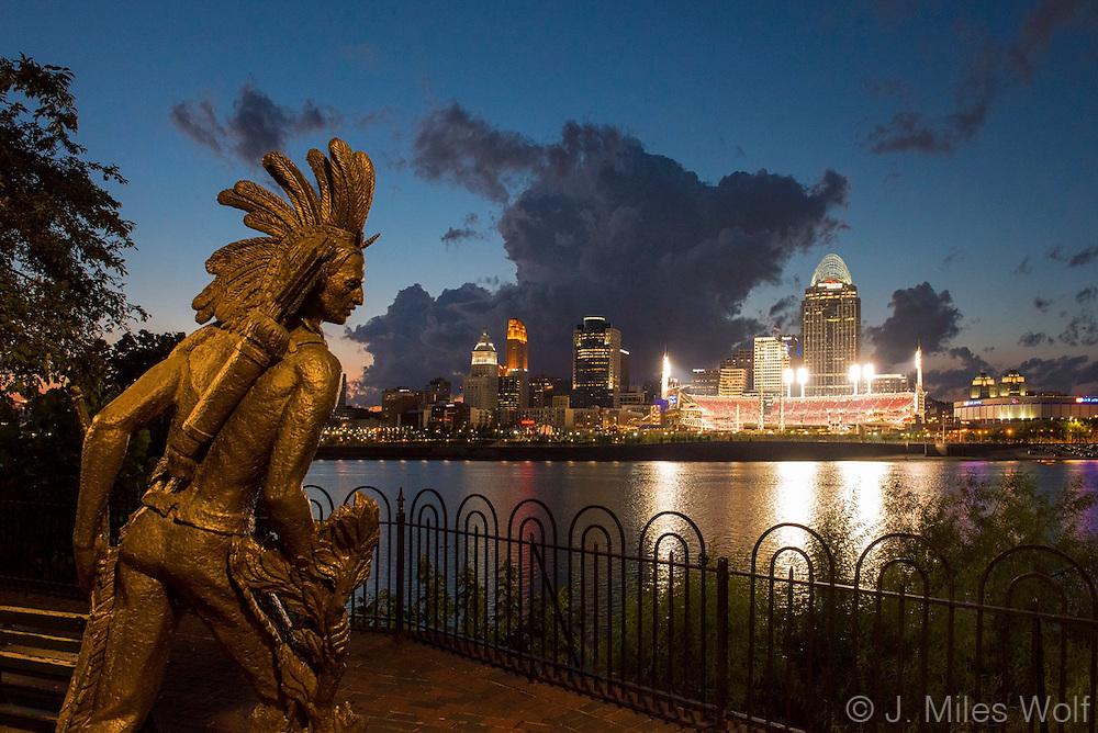 Cincinnati Skyline from Northern Kentucky with Little Turtle Indian Statue