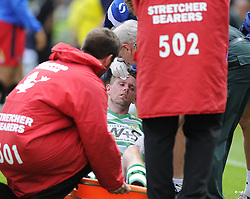 Yeovil Town's Andy Welsh leaves the pitch with a head wound  - Photo mandatory by-line: Joe Meredith/JMP - Mobile: 07966 386802 19/07/2014 - SPORT - FOOTBALL - Yeovil - Huish Park - Yeovil Town v Reading