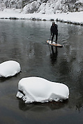 """Winter SUP on the Truckee River 6"" - Peter Spain Stand Up Paddleboarding on the Truckee River"