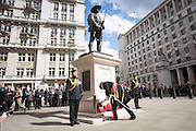 Photographer: Rick Findler<br /> <br /> 30.04.15 The Brigade of Gurkhas today celebrated their service in every major conflict in which Britain has been involved in for the last 200 years. To celebrate this heritage the Brigade of Gurkhas marched from Wellington Barracks down the Mall to the Gurkha Statue in Whitehall and held a memorial service for the rich Gurkha history. <br /> Pictured: General Sir Peter Wall, chairman of the Gurkha Welfare Trust, lays a wreath at the Gurkha Statue during the memorial service.