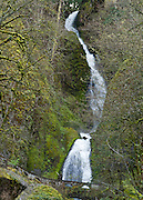 """Wahkeena Falls (242 foot total plunge) in Columbia River Gorge National Scenic Area, Oregon, USA. Formerly known as Gordon Falls, a 1915 committee of the Mazamas changed the name to Wahkeena, the Yakima Indian word for """"most beautiful."""""""