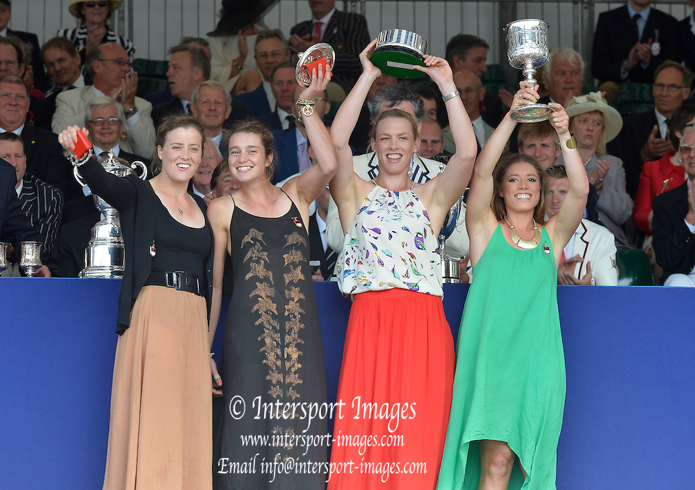 Henley, GREAT BRITAIN. [The Princess Grace Challenge Cup (W4x)]  AUS. collect their Prize from The Rt. Hon. The Lord Mayor of London. Alderman David WOTTON  at 2012 Henley Royal Regatta...Sunday  17:57:39  01/07/2012. [Mandatory Credit, Peter Spurrier/Intersport-images]...Rowing Courses, Henley Reach, Henley, ENGLAND . HRR.