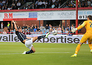 Peter MacDonald is inches away from doubling Dundee's lead - Dundee v Celtic SPFL Premiership at Dens Park<br /> <br />  - &copy; David Young - www.davidyoungphoto.co.uk - email: davidyoungphoto@gmail.com