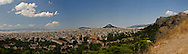 A panoramic view of Athens, Greece and the Parthenon.
