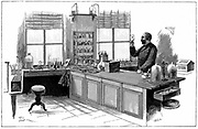 Robert Koch  (1843-1910) German bacteriologist and physician in his laboratory. In 1890 Koch introduced Tuberculin which he thought was a cure for Tuberculosis. Curative powers were disappointing and its value as diagnostic tool was overlooked.  In 1905 Koch received the Nobel Prize for physiology and medicine. Engraving, 1891.