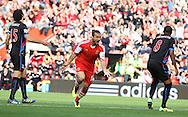 Picture by Paul Terry/Focus Images Ltd +44 7545 642257<br /> 28/09/2013<br /> Dani Osvaldo ( C ) of Southampton celebrates after scoring the opening goal during the Barclays Premier League match at the St Mary's Stadium, Southampton.