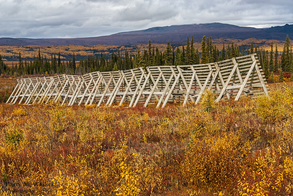 Snow fence to prevent wind-driven drifts across highway; Kanuti River; Dalton Highway; Alaska; Fall