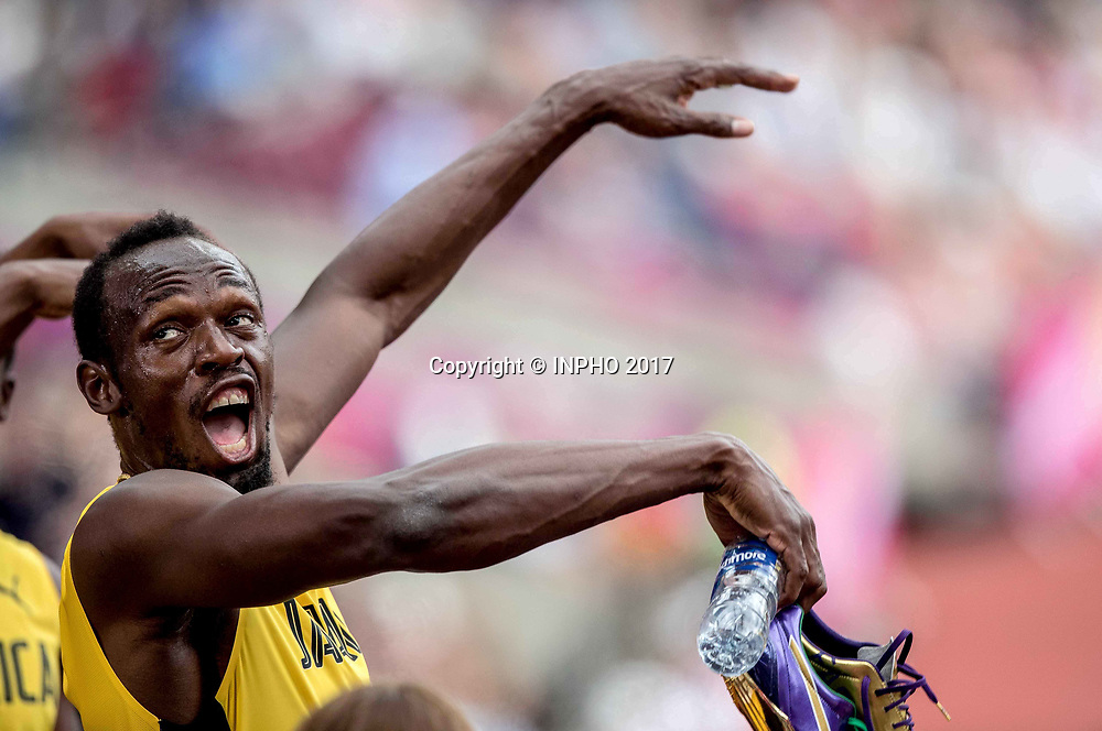 2017 World Athletics Championships Day 9, London Stadium, London, England 12/8/2017<br /> Men's 4x100m Relay Heats<br /> Jamiaca's Usain Bolt celebrates after the race<br /> Mandatory Credit &copy;INPHO/Morgan Treacy