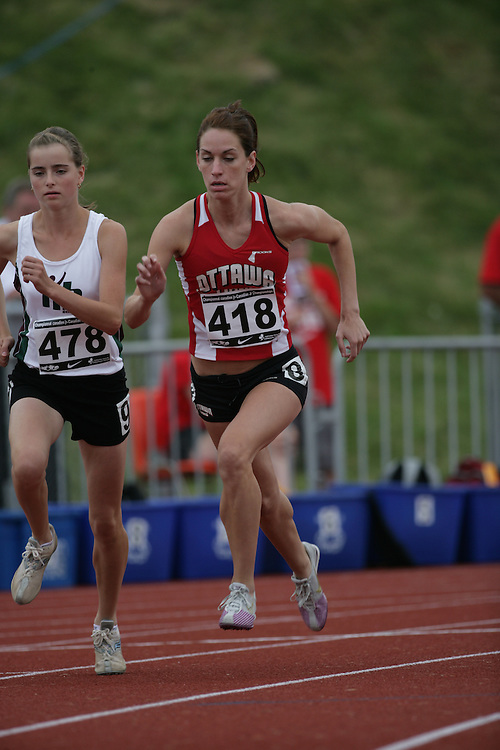 (Charlottetown, Prince Edward Island -- 20090718) Rachel Aubry of Ottawa Lions T.F.C. competes in the 800m heats at the 2009 Canadian Junior Track & Field Championships at UPEI Alumni Canada Games Place on the campus of the University of Prince Edward Island, July 17-19, 2009.  Copyright Sean Burges / Mundo Sport Images , 2009...Mundo Sport Images has been contracted by Athletics Canada to provide images to the media.