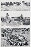 North American Mound Builders. Top: AvondaleMounds. Centre: De Soto Mound. Bottom: Ceremony round small mound after 1562-1564 observations by Jacques le Moyne.