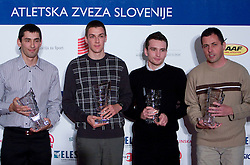 Gregor Kokalovic, Sebastijan Jagarinec, Vid Trsan and coach of Jagarinec Robert Rudelic at Best Slovenian athlete of the year ceremony, on November 15, 2008 in Hotel Lev, Ljubljana, Slovenia. (Photo by Vid Ponikvar / Sportida)