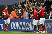 GOAL - 0-1 Manchester United Forward Marcus Rashford celebrates with Manchester United Midfielder Nemanja Matic Manchester United Midfielder Jesse Lingard and Manchester United Defender Luke Shaw during the Premier League match between Tottenham Hotspur and Manchester United at Wembley Stadium, London, England on 13 January 2019.