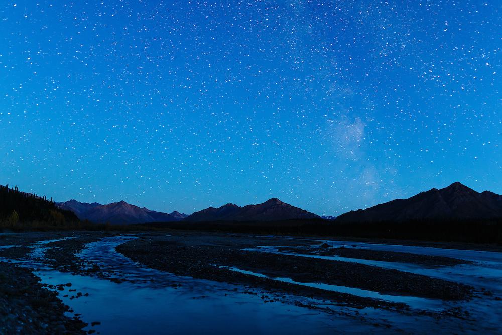 Milky Way above the Alaska Range along the Teklanika River in Denali National Park in Interior Alaska. Autumn. Evening.