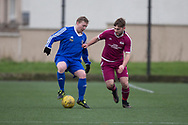 Dundee Saturday Morning Football League side St James (blue) in North of Tay Cup action against Arbroath HSFP (maroon) at DISC, Dundee<br /> <br /> <br />  - &copy; David Young - www.davidyoungphoto.co.uk - email: davidyoungphoto@gmail.com