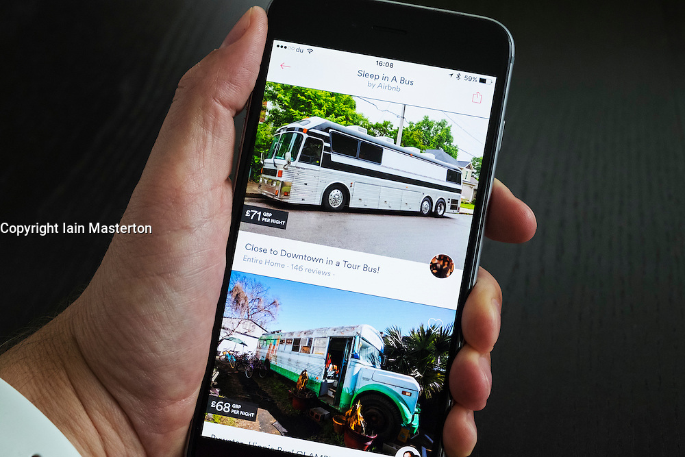 Airbnb holiday room booking app showing converted tour coach  for rent on an iPhone 6 plus smart phone