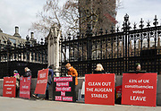 As Prime Minister Theresa May again meets opposition Labour leader Jreemy Corbyn in an attempt to break the deadlock in parliament of Brexit, Brexiteer protestors stand outside the gates of parliament in Westminster, on 4th April 2019, in London, England.