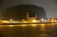 Trentino in allarme rosso per il meteo, il fiume Adige in Piena, Trento 29 ottobre 2018 © foto Daniele Mosna