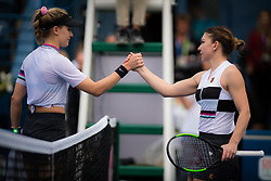 February 19, 2019 - Dubai, ARAB EMIRATES - Ball Kid at the net after their second-round match at the 2019 Dubai Duty Free Tennis Championships WTA Premier 5 tennis tournament (Credit Image: © AFP7 via ZUMA Wire)