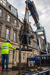 The sculpture of Sherlock Holmes by former pop-artist Gerald Laing is being moved from it's home on Picardy Place, yards from the birth place of Sir Arthur Conan Doyle.<br /> <br /> The move of the sculpture is to accommodate road and tram works that are taking place in Edinburgh. The statue will be moved to Nairn at  Black Isle Bronze Ltd by the artists son, Farquhar Laing where it will stay for two years until it returns to Edinburgh.<br /> <br /> Pictured: The Sherlock Holmes statue moved onto the truck that will take it for renovation in Nairn