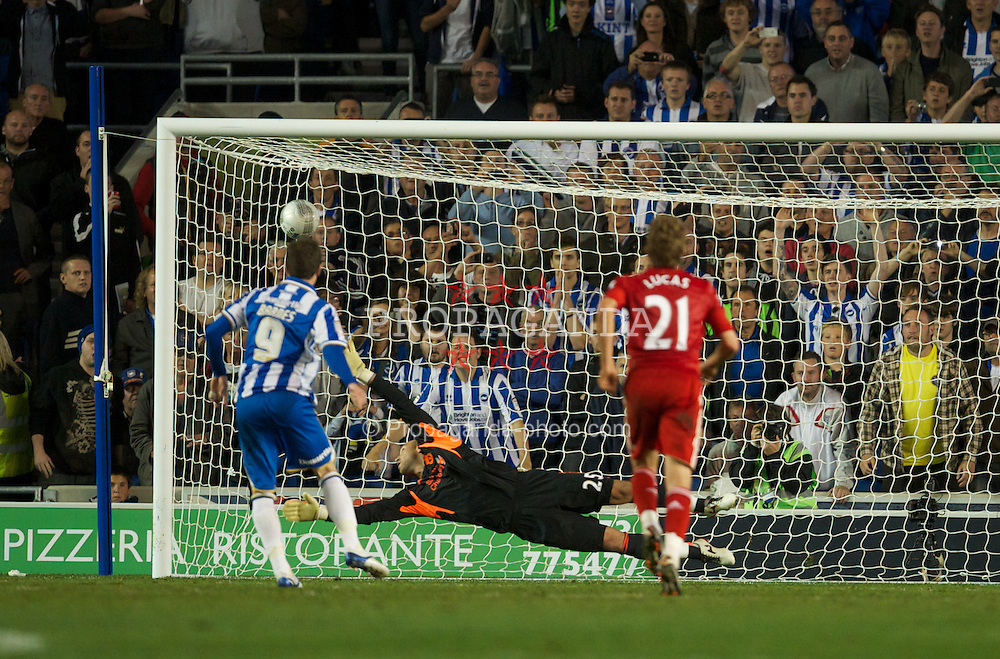 BRIGHTON, ENGLAND - Wednesday, September 21, 2011: Liverpool's goalkeeper Jose Reina is beaten from the penalty spot by Brighton & Hove Albion's Ashley Barnes during the Football League Cup 3rd Round match at the Amex Stadium. (Pic by David Rawcliffe/Propaganda)