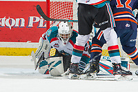 KELOWNA, CANADA - FEBRUARY 23:  Roman Basran #30 of the Kelowna Rockets makes a save against the Kamloops Blazers on February 23, 2019 at Prospera Place in Kelowna, British Columbia, Canada.  (Photo by Marissa Baecker/Shoot the Breeze)