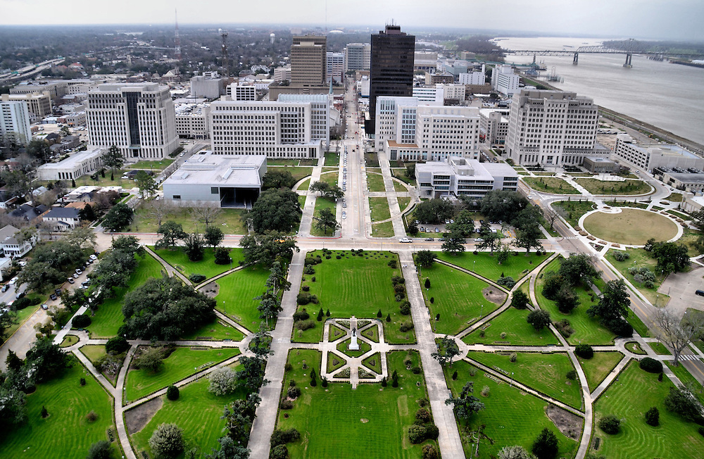 Downtown from Louisiana State Capitol Observation Tower in Baton Rouge, Louisiana<br />