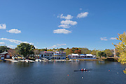 """Cambridge. MA. USA. General View of the course, From Eliot Bridge, Centre, Cambridge Boathouse, left Buckingham Browne and Nichols boathouse and right the Directors enclosure. 49th Edition of the """"2013 Head of the Charles"""".<br /> <br /> 13:38:00  Friday  18/10/2013<br /> <br /> [Mandatory Credit. Peter SPURRIER /Intersport Images]"""