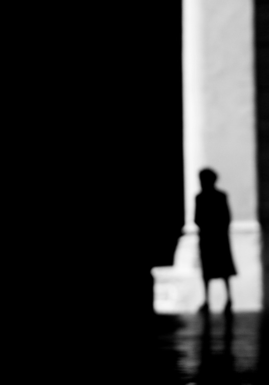"Black and white photography.Silhouette of woman in Bologna Italy by Karl R Lilliendahl photographer. Photo is available as open edition and limited edition giclee print in four sizes. Click on ""Get Print"" to see more details."