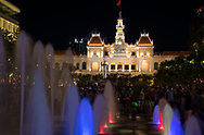 A light show on the fountains in front of the People's Committe Building in Ho Chi MInh City, Vietnam, Southeast Asia, Indochina
