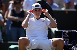 Jack Draper after losing the Boys Singles Final on day thirteen of the Wimbledon Championships at the All England Lawn Tennis and Croquet Club, Wimbledon.