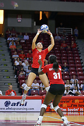 28 AUG 2009: Hailey Kelley positions as Jessica Pratapas sets. The Redbirds of Illinois State defeated the Runnin' Bulldogs of Gardner-Webb in 3 sets during play in the Redbird Classic on Doug Collins Court inside Redbird Arena in Normal Illinois