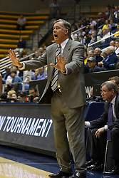 March 16, 2011; Berkeley, CA, USA;  California Golden Bears head coach Mike Montgomery on the sidelines against the Mississippi Rebels during the first half of the first round of the National Invitation Tournament at Haas Pavilion.